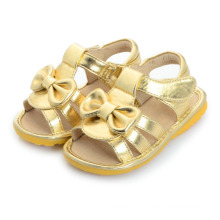 Gold Baby Girl Sandals with a Cute Bow