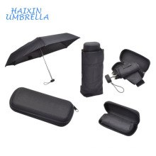Small Wedding Promotion Logo Gift Items 19 Inches Portable Travel Alluminium Alloy 5 Fold Mini Pocket Umbrella in Plastic Case