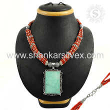 Gorgeous Coral Turquoise Jewelry Necklace 925 Silver Jewelry Wholesale