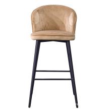 Modern Cheap Velvet High Bar Stool  with Black Metal Legs Bar Chair