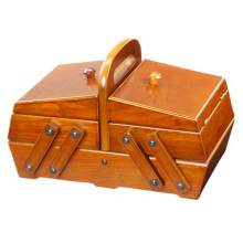 Wooden Cantilever Sew Basket Vintage Style