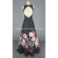 Vintage Silk Mikado Floral Print Evening Dress