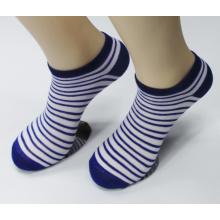 Chaussettes à la cheville en coton peigné à rayures multicolores