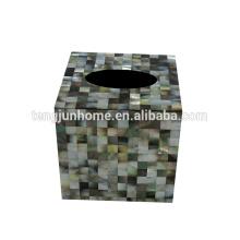 Cáscara negra cajas cuadradas cuadradas caja de tejido titular titular de la caja de tejido de conchas
