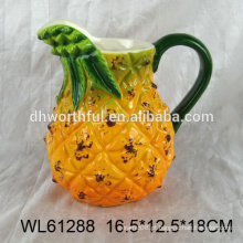 Jarro de água cerâmica de design criativo em forma de abacaxi para atacado