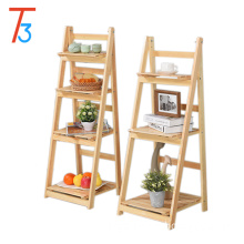 Tri-tiger folding wood floating display shelf magazine rack
