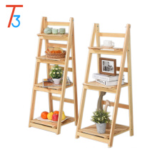 Tri-tiger folding wood floating display shelf magazine rack