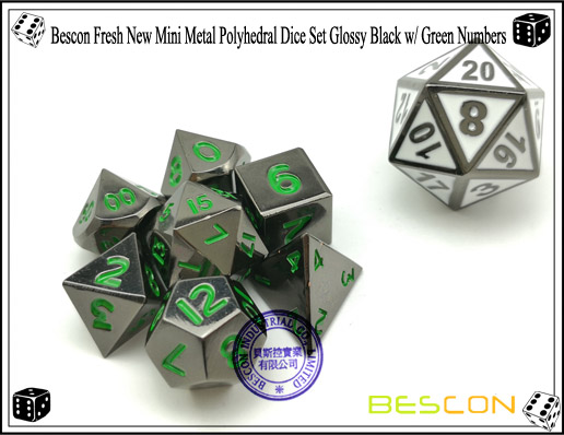 Bescon Fresh New Mini Metal Polyhedral Dice Set Glossy Black with Green Numbers-4