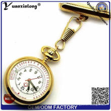 Yxl-959 de calidad superior de acero inoxidable enfermera hospital enfermera reloj de bolsillo reloj médico de dial cuarzo enfermera reloj de pecho de la mesa