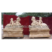 Escultura de mármol de la estatua de piedra del jardín con la piedra tallada (SY-X1118)