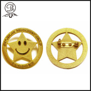 Smile face gold color lapel pin