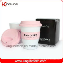Cutom Color 350ml Silicone Coffee Cup with Sillicone Band and Cover (KL-CP005)