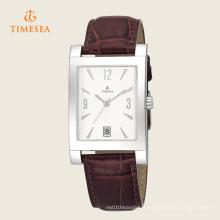 Montre en acier inoxydable pour homme avec bracelet en cuir brun Date 72283