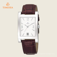 Mens Stainless Steel Brown Leather Strap Date Assista 72283