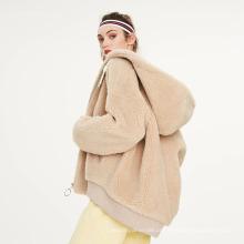 2021 Personalização Inverno Feminino com Zíper Sherpa Hoodie