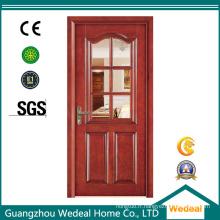 Porte composée en bois solide de PVC de noyau pour la pièce / entrée avec le verre