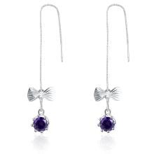 Butterfly Purple Zircon Plata plateada mujeres pendientes