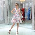 2017 Mode En Gros Charme Mini Organza robe de soirée avec des perles colorées