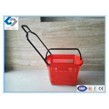 30L Plastic Shopping Basket with Four Wheels