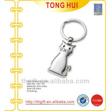 Blank silver cat shape pendant keychains metal