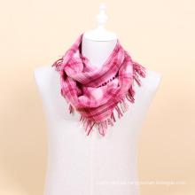 Bufanda del infinito de la tela escocesa 100% de las lanas al por mayor
