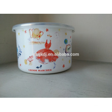 Enamel Storage Bow, White Lunch Bowl With PP Lid