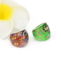 MC1014 Factory Outlet Millefiori Gold Sand Lampwork Glass Rings 12pcs/box