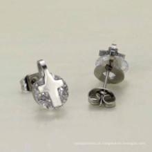 Personalizado por atacado muito elegante cruz 925 strass prata brincos de argola jóias