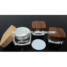 5g 15g 30g 50g 100g doble pared de acrílico de madera cosméticos jarra de madera crema de tarro para la venta al por mayor