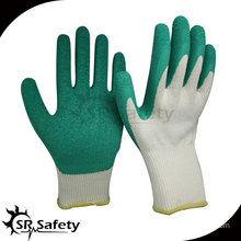 13g white nylon coated green latex work glove/Cheapest latex gloves