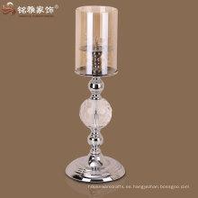 decoración de interiores de casa diseño tradicional simple venta caliente de vidrio titular de la vela de metal