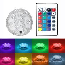 10 LED Multicolor Piscina Submersível À Prova D 'Água Chá Do Partido Floralytes Base de Vaso de Controle Remoto subaquática Led Piscina chá luz