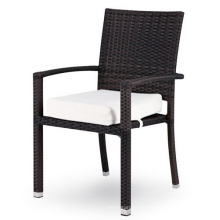 Wicker Garten Outdoor Rattan Stapelstuhl stapelbar Arm