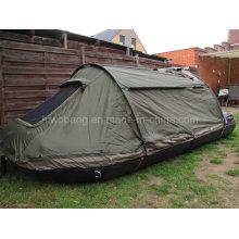 Военная лодка с качественной рыбалкой с зеленой палаткой