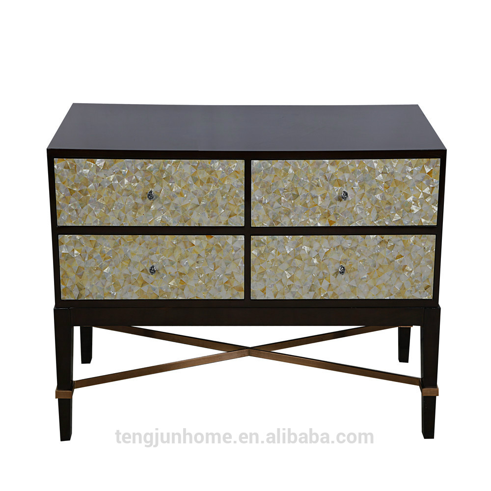 ECO-Friendly yellow mother of pearl inlaid Storage Cabinet