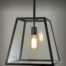 Nordic industrial retro lamp rectangular iron glass chandelier for dining room