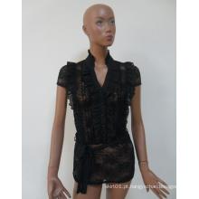 2015 alta qualidade preto jovem senhora rendas blusa de renda para as mulheres