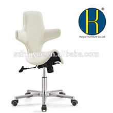 2017 Haiyue Furniture New design white saddle chair, beauty salon saddle stool with very comfortable backrest