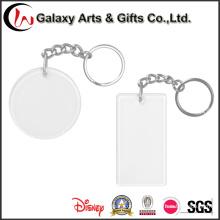 Corrente chave da foto acrílica vazia transparente dada forma redonda da foto da inserção do plástico claro