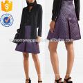 Pleated Metallic Jacquard Mini Skirt Manufacture Wholesale Fashion Women Apparel (TA3031S)