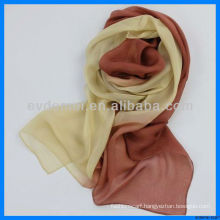 Women gradient color chiffon silk scarf