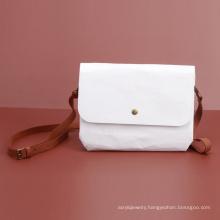 Cute Kraft Paper Ladies Handbag White Handy Pouch With Shoulder Strap