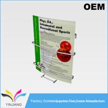 Matel powder coated durable wall hanging magazine display rack