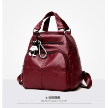 latest leaf genuine leather embroidery girls soft backpacks