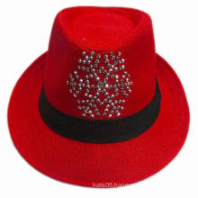 Color Straw Fedora Hats with Custom Made Sequins Design