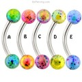 Curved Barbell with Multicolored Splatter Balls