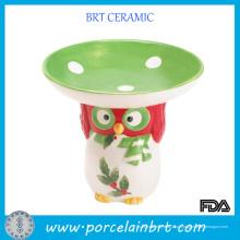 Decoração de coruja original pequeno prato de doces de cerâmica