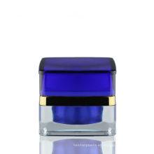Tarro de acrílico cuadrado 50g Frasco de tarro de lujo Tarro de cristal azul