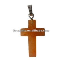 Мода Красный авантюрин Иисус крест подвеска