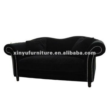 living room french black velvet sofa XDS1200